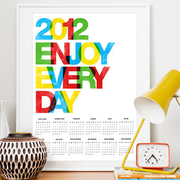 2012 Calendar Poster  Typography print Colorful by handz on Etsy