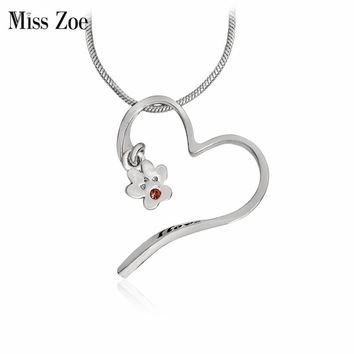 Miss Zoe I love you more Dog Paw Necklace Paw Claw Heart Pendant Cat Kitten Puppy Pet Animal Jewelry Gift for Dog Rescue
