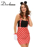 Dear lover Sexy Costume Cosplay  Four-piece Sexy Darling Miss Mouse Womens Costumes Party Deguisement Halloween Adultes LC89003