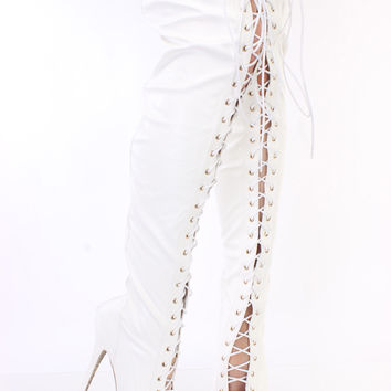 White Lace Up Thigh High Platform Boots Faux Leather