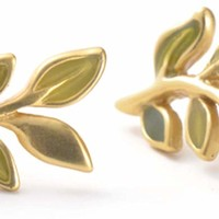 Vintage Stud Earrings for Women Gold Plated Green Olive Leaf Earrings