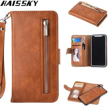 2 in 1 Zipper Wallet Leather Case For iPhone X 8 7 7 Plus 6 6S Plus Haissky Flip Phone Case Luxury Cover For iPhone 5 5S SE Case