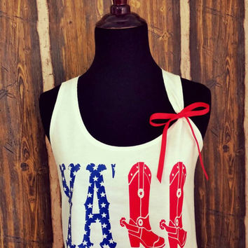 Women's Y'all-USA-4th of July Racerback Tank Top