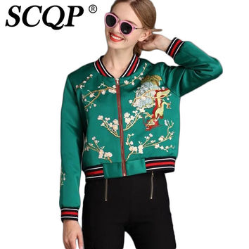SCQP Floral Animals Bomber Jacket Embroidery Dragon Ladies Fashion Blouson Bombers Femme Pockets Autumn Casual Women Basic Coats