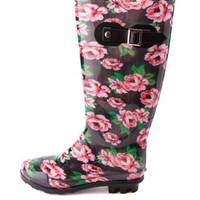 Rubber Floral Print Rain Boots by Charlotte Russe