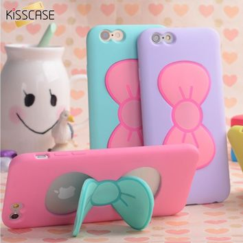 KISSCASE Case For iPhone 7 6S Plus Lovely 3D Bow-knot Soft Silicon Case For iPhone 6 6S 5 5S 4 4S Candy Color Stand Holder Cover