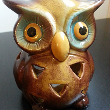 Vintage Ceramic Owl Candle Holder