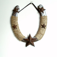 Decorated used horseshoe with stars Western Decor