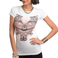 Owl Print Graphic Knit Tee