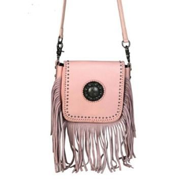 Pink Leather Cross Body Montana West Bag RLC-L080