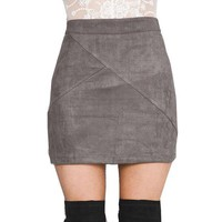 LMFONV GS126 Womens Vintage 80`s Retro High Waist Pachtwork Suede Skirt Thick Warm Winter Autmn Mini Pencil Skirts