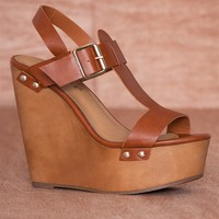 Breckelles Renew You Buckled Ankle Strap Platform Wedge Sandals Emily-42 - Tan