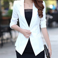 Lapel Collar One-Button Blazer