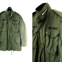 Vintage Mens Green Army Jacket - US Army Jacket - Military Field Jacket - Mens Military Parka Coat - Size Medium Long