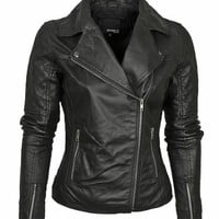 Barney's Originals Women's Leather Asymmetric Biker Jacket