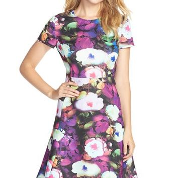 Women's Betsey Johnson Floral Scuba Fit & Flare Dress,