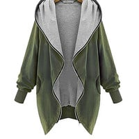 Plus Size Army Green Zipper Front Hooded Coat