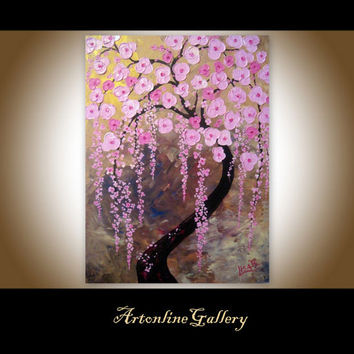 Original Painting Cherry Blossoms - Tree of Life Painting Oil Acrylic Pink - Ready To Hang - Stretched - Pink tears -  By Elizabeth Lisa