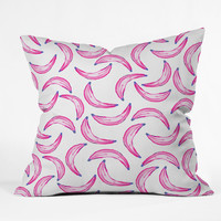 Lisa Argyropoulos Gone Bananas Pink on White Throw Pillow
