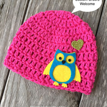 Handmade Baby Hat in Bright Pink with Owl Applique, Baby Girl Hat, Baby Girl Beanie, Pink Crochet Baby Hat, Ready to ship, Newborn Pink Cap