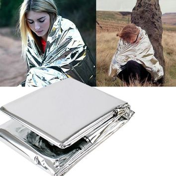 Emergency Blanket 210*130CM Outdoor Camping Silver Thermal Blanket Portable Survival Kits Rescue Insulation Curtain Life-saving