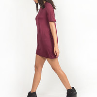 Solid Short Sleeved Tunic Top - Burgundy