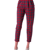 London Calling Plaid Pants - Red/Navy