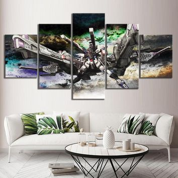 Animation Wall Art HD Picture Printed MOBILE SUIT GUNDAM Science Fiction Cartoon Pictures Modern Oil Painting for Home Decor