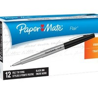 Paper Mate Flair Porous-Point Felt Tip Pen, Ultra-Fine, 12-Count
