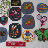 14-0912 Bunch Of Vintage 1980s Iron On Patches / Jacket Patches / Iron On Badges / Fabric Iron Ons / Embroidered Patches