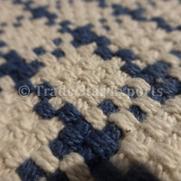 """Hand Woven Checked Pattern Rug, Hand Loomed Cotton Durrie Carpet, Reversible Yoga Mat, Blue Color Theme, Size 36""""x24"""" Inches"""