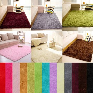 Fashion Soft Fluffy Rugs Anti-Skid Colors, Area Rug Dining Room Home Bedroom Carpet Floor Mat, 14 Shaggy 4 Sizes