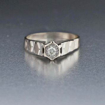 Vintage White Gold Diamond Solitaire Engagement Ring 415a60637