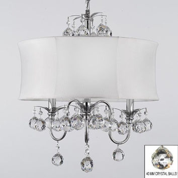 "Modern Contemporary White Drum Shade & Crystal Ceiling Chandelier Pendant Lighting Fixture W 18"" H 22"" - A7-B6/White/834/3"