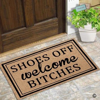Autumn Fall welcome door mat doormat  Entrance Floor Mat Funny  Shoes Off Welcome Bitches Designed Non-slip  AT_76_7