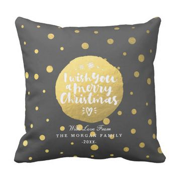 Black & Gold Polka Dots Merry Christmas Typography Throw Pillow