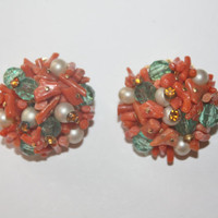 Vintage Coral Cluster Earrings Pearl 1950s Jewelry