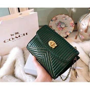 COACH 2018 autumn and winter new rivet camera bag chain bag Messenger bag Green