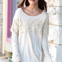 Snuggled in Lace Sweater {Cream}
