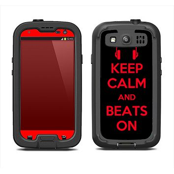 The Keep Calm & Beats On Red Samsung Galaxy S3 LifeProof Fre Case Skin Set