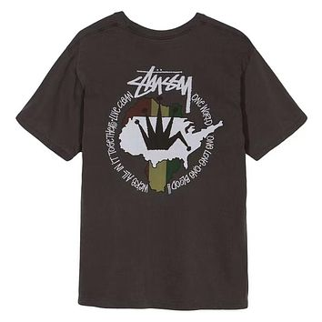 STUSSY Live Clean Pigment Dyed Trending Unisex Summer Loose Map Print Short Sleeve T-Shirt Pullover Top Black I-AA-XDD