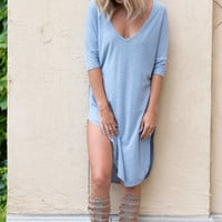 Alexis V-Neck Tunic Dress - Blue
