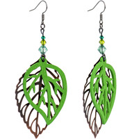 Handcrafted Autumn Leaf Dangle Earrings Created with Swarovski Crystals | Body Candy Body Jewelry