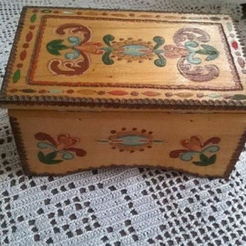 Wooden box/ Bulgarian folk art/  Vintage  Wooden box/  Handmade box/  Pyrography box