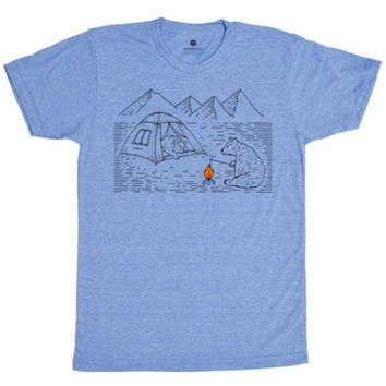 Camping Bears 2 - Heather Blue