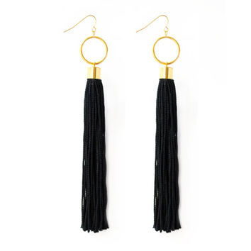 Bohemian Black Tassel Earrings
