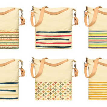 Stripes Patterns Printed Canvas Leather Strap Crossbody Messenger Bags WAS_35