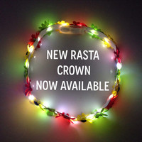 Rasta LED Flower Crown for raves music festivals EDC EDM