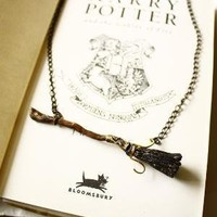 Harry potter Firebolt necklace deathly hallows by SixAstray