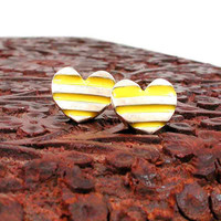 Neon Yellow Striped Heart Post Earrings  by SwankMetalsmithing